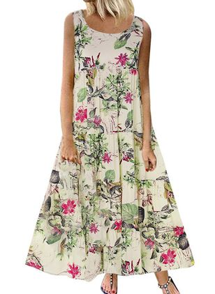 Casual Floral Round Neckline Maxi A-line Dress (1341866)