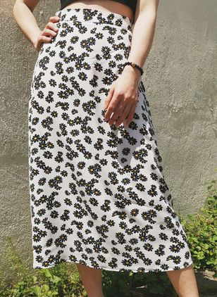 Floral Mid-Calf Casual Skirts (109555647)