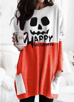Halloween Color Block Tunic Round Neckline Shift Dress (109555624)