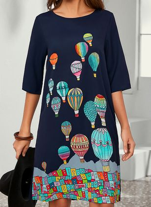 Casual Color Block Tunic Round Neckline Shift Dress (100038070)