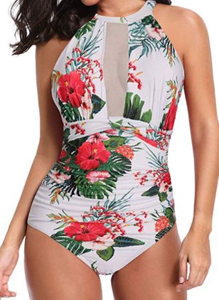 Polyester Mesh Floral One-piece Swimwear (4074269)