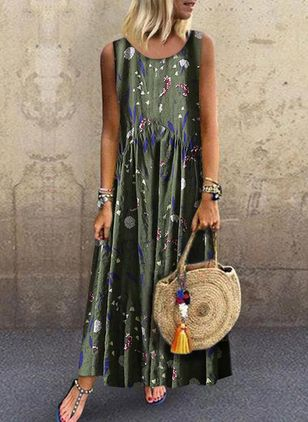 Casual Floral Round Neckline Maxi A-line Dress (1310314)