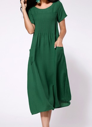 Solid Pockets Short Sleeve Midi Dress