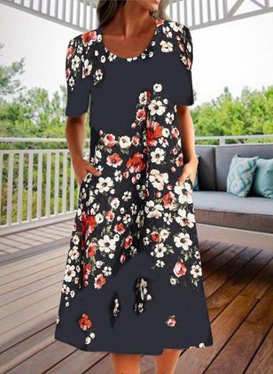 Casual Floral Round Neckline Midi Shift Dress
