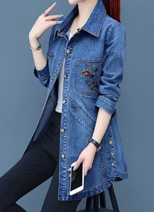 Shift Coats Collar Denim Jacket (106822426)