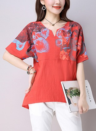 Cotton Color Block V-Neckline Half Sleeve Casual T-shirts