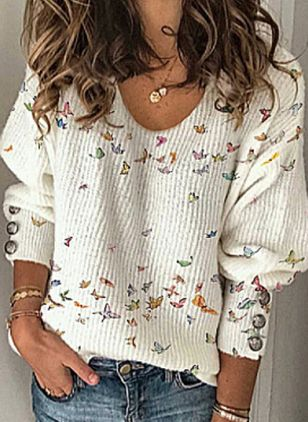 V-Neckline Animal Vintage Loose Regular Shift Sweaters (146820106)