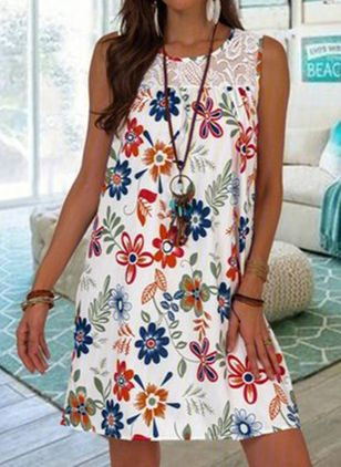 Casual Floral Tunic Round Neckline Shift Dress (4541782)