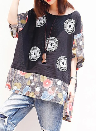Cotton Floral Round Neck Half Sleeve T-shirts