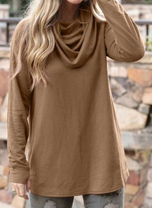 Solid Casual Draped Neckline Long Sleeve Blouses (108088571)