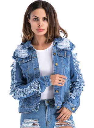 Denim Long Sleeve Collar Ruffles Buttons Pockets Hollow Out Denim Jackets