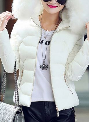 Long Sleeve Hooded Zipper Removable Fur Collar Padded Coats (1261082)