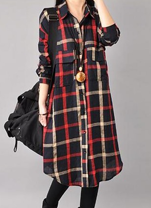 Cotton Long Sleeve Knee-Length Dresses