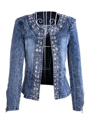Long Sleeve Round Neck Pockets Denim Jackets