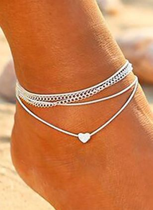 Casual No Stone Heart Anklet (1529839)