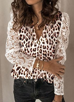 Leopard Sexy V-Neckline Long Sleeve Blouses (101240870)