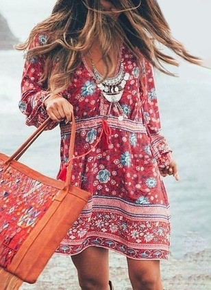 Boho Floral Sashes Tunic Shift Dress (1191421)