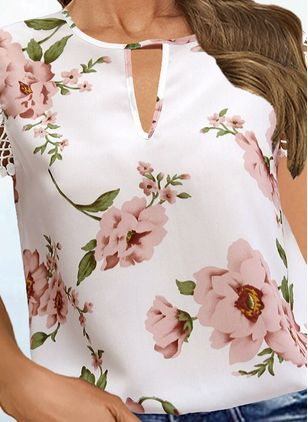 Floral Casual Round Neckline Short Sleeve Blouses (147045913)