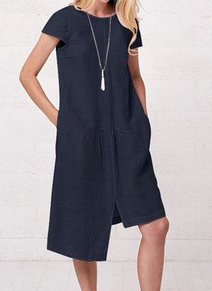 Casual Solid Tunic Round Neckline A-line Dress (100002152)