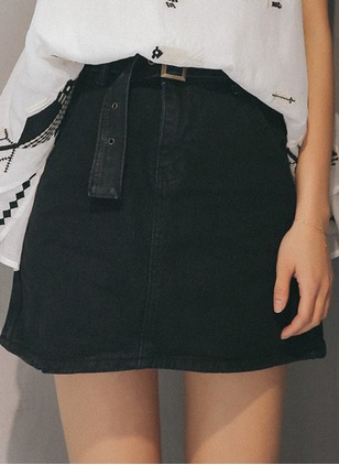 Denim Solid Above Knee Casual Blue Black Skirts