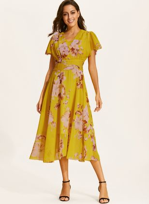 Casual Floral Sashes Wrap Sheath Dress (1306569)