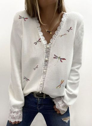 V-Neckline Animal Casual Regular Lace Sweaters (146700767)