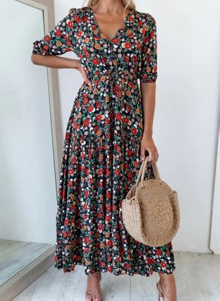 Casual Floral V-Neckline Maxi X-line Dress (107561418)