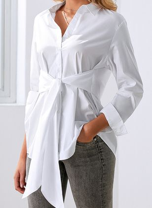 Solid Casual Collar Long Sleeve Blouses (1514555)