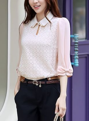 Solid Elegant Collar 3/4 Sleeves Blouses
