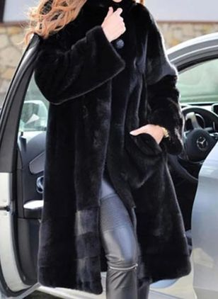 Long Sleeve Collar Pockets Fur Coats (146703634)