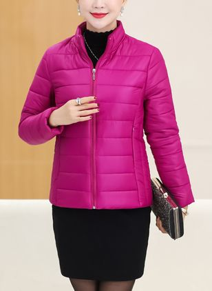 Long Sleeve High Neckline Zipper Padded Coats
