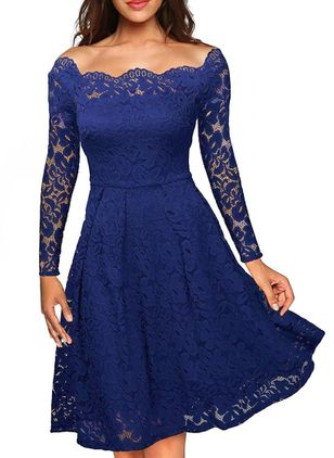 Solid Lace Long Sleeve Knee-Length A-line Dress