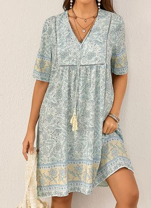 Casual Floral Tunic V-Neckline Shift Dress (1527013)
