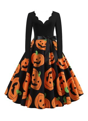 Halloween Color Block V-Neckline Midi X-line Dress (109973509)
