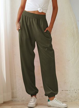 Casual Loose Pockets High Waist Cotton Pants (4256448)
