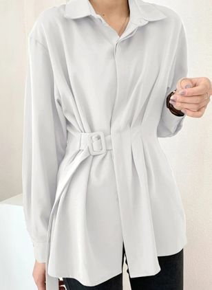 Solid Casual Collar Long Sleeve Blouses (146965962)