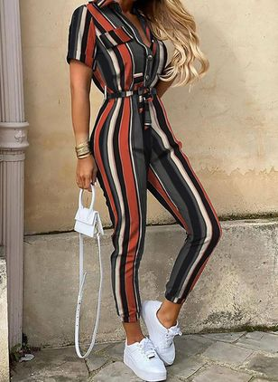 Casual Straight Buttons High Waist Polyester Jumpsuits (146975867)