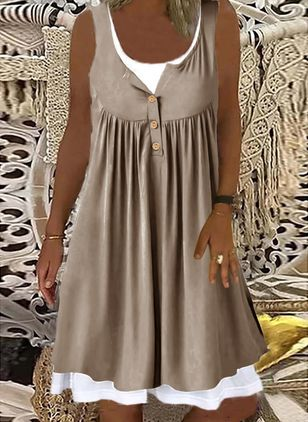 Casual Solid Tunic Round Neckline A-line Dress (147413977)