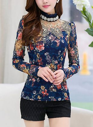 Floral Elegant High Neckline Long Sleeve Blouses