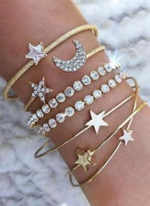 Casual Ball Moon Star Heart Crystal Cuff Bracelets (4126976)