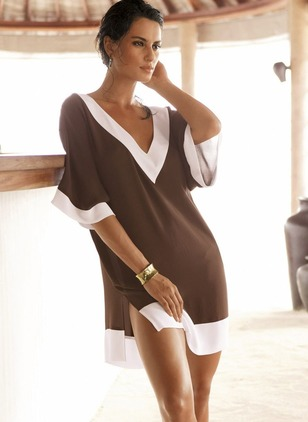 Color Block Tshirt V-Neckline Above Knee Shift Dress (1182440)
