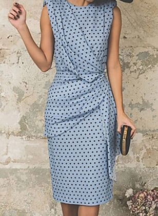 Elegant Polka Dot Pencil Round Neckline Sheath Dress (147194770)