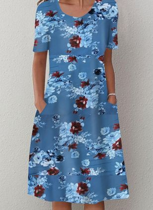 Casual Floral Tunic Round Neckline Shift Dress (4541780)
