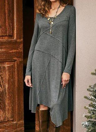 Casual Solid Tunic Round Neckline A-line Dress (108088623)