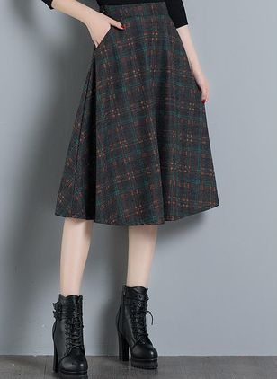 Check Mid-Calf Casual Pockets Skirts