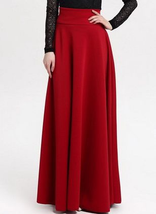 Solid Maxi Casual Nederdele (4458438)