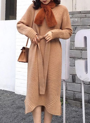 Solid Wrap Long Sleeve Midi Shift Dress