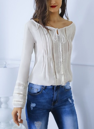 Solid Polyester Boat Neckline Long Sleeve Blouses
