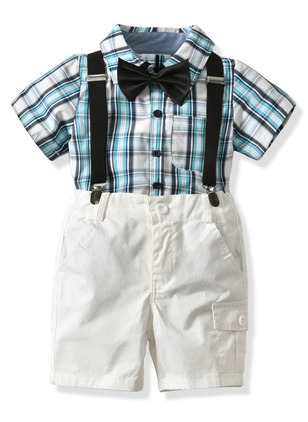 Boys' Casual Plaid Daily Short Sleeve Clothing Sets