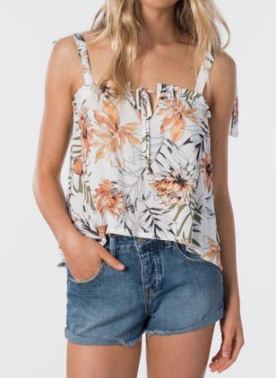 Floral Sexy Camisole Neckline Sleeveless Blouses (146981464)